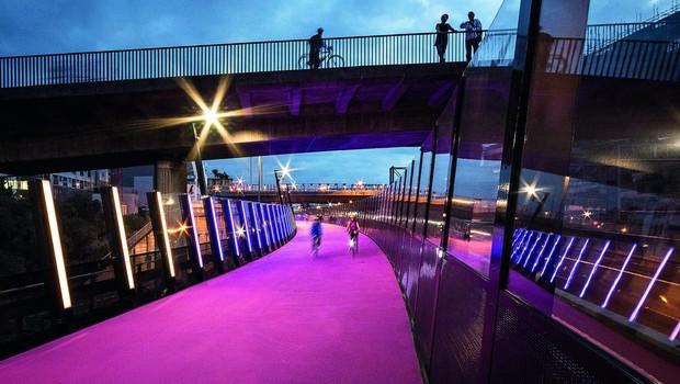 Projeto de ciclovia rosa na Austrália (Foto: Reprodução/Bycs.org)