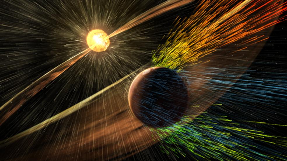 Quando Marte perdeu o campo magnético, sua atmosfera foi progressivamente eliminada (Foto: Nasa)