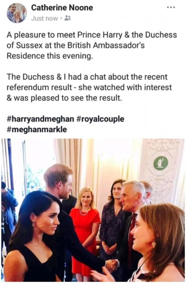 A declaração polêmica da senadora irlandesa sobre as opiniões de Meghan Markle sobre a legalização do aborto na Irlanda (Foto: Twitter)
