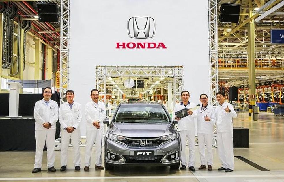 Honda inicia as operações em nova fábrica de Itirapina, interior de São Paulo. Fit é o primeiro modelo produzido. — Foto: Divulgação/Honda