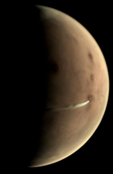 Desde 13 de setembro de 2018 que a Câmera de Monitoramento Visual da missão Mars Express ESA tem observado  a formação de nuvens na atmosfera marciana (Foto: European Space Agency (ESA))
