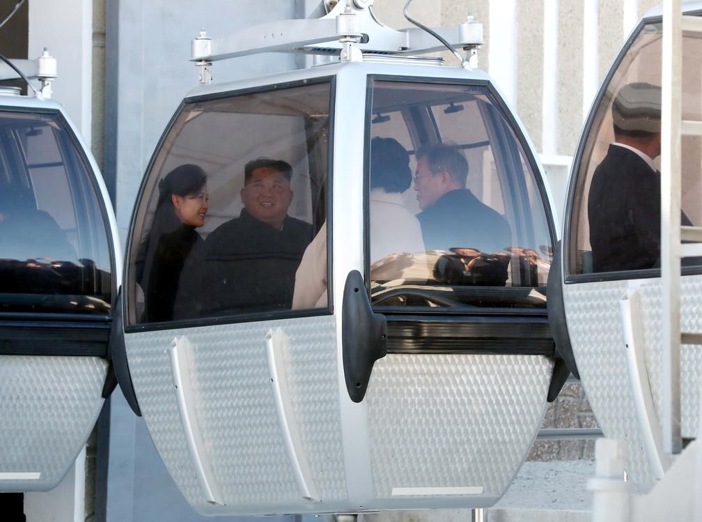 O presidente sul-coreano Moon Jae-in, a primeira-dama Kim Jung-sook, o líder norte-coreano Kim Jong Un e sua esposa Ri Sol Ju sentam-se dentro de um teleférico no topo da montanha Paektu, na coreia do Norte — Foto: Pyeongyang Press Corps/Pool via Reuters