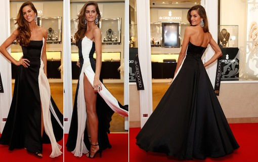 Izabel Goulart: tendência black and white e fenda profunda