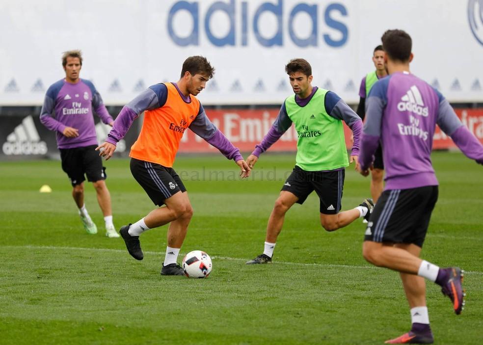 Lucas Silva em treino pelo Real Madrid, em 2016 — Foto: realmadrid.com