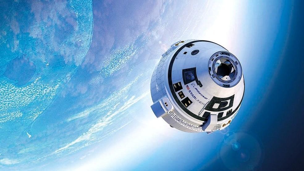 A Boeing trabalha para que a cápsula espacial Starliner possa transportar astronautas para a Estação Espacial Internacional  — Foto: Boeing/Arquivo