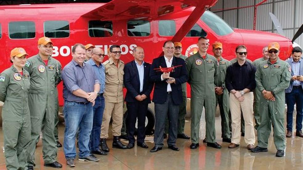 Aeronave foi entregue em dezembro do ano passado à 2° Base Aérea Integrada de Combate a Incêndios Florestais da Amazônia Legal em Porto Velho (foto de 27 de dezembro de 2018) — Foto: Corpo de Bombeiros de Rondônia