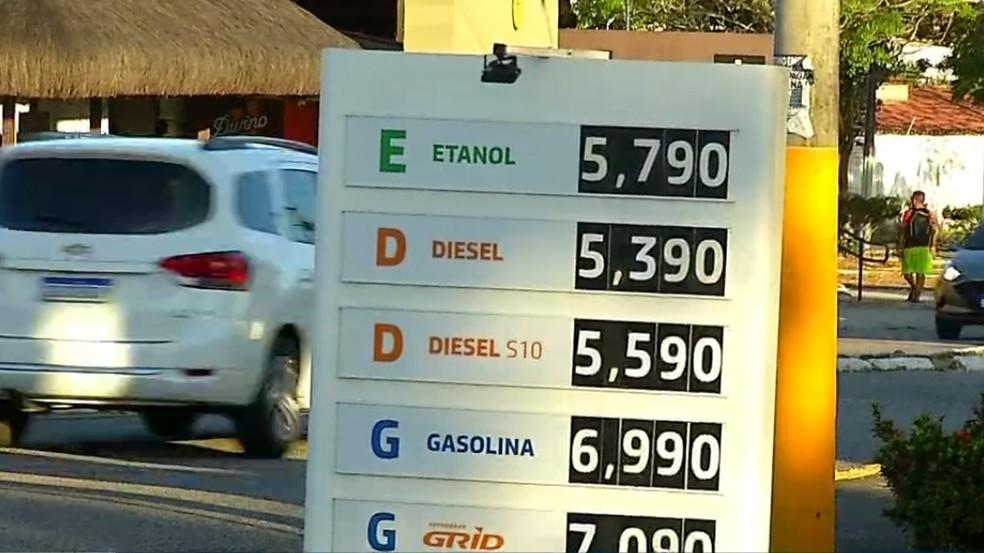 Preço dos combustíveis em Natal — Foto: Inter TV Cabugi