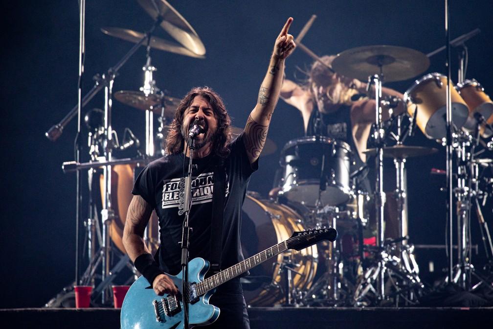 Foo Fighters durante encerramento do palco Mundo no segundo dia de Rock in Rio 2019 — Foto: Marcelo Brandt/G1