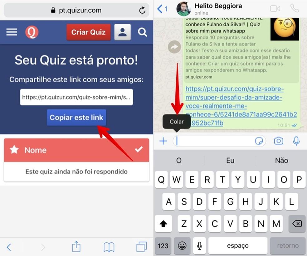 Compartilhe o link do quiz com seus amigos no WhatsApp — Foto: Reprodução/Helito Beggiora