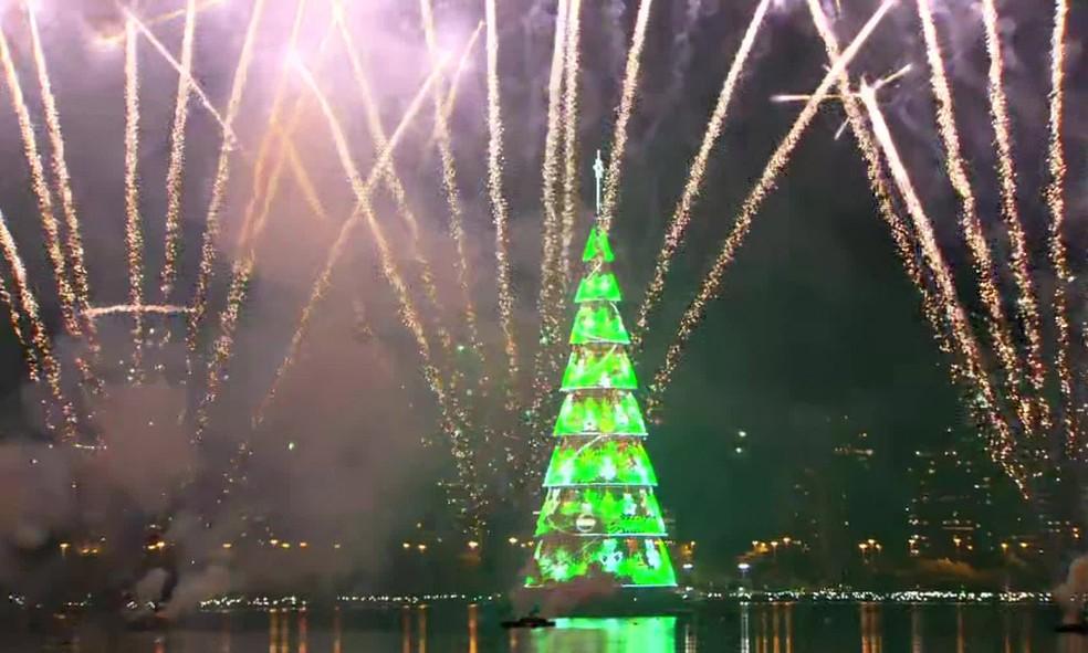 Árvore da Lagoa é inaugurada com fogos — Foto: Reprodução/TV Globo