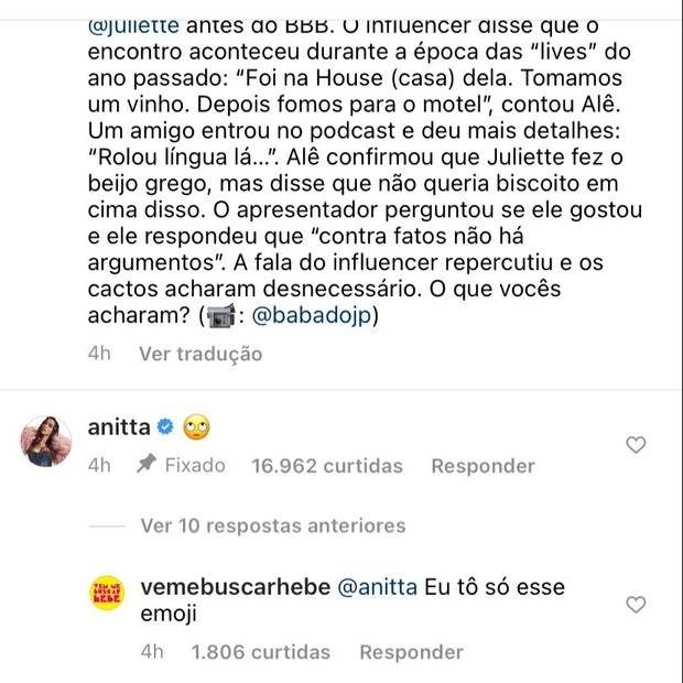 Comentário de Anitta em publicação sobre Juliette e Alê Oliveira (Foto: Reprodução/Instagram)