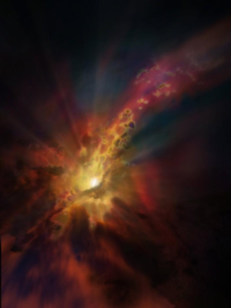 Impressão artística da saída de gases da galáxia SPT2319-55 (Foto: NRAO/AUI/NSF, D. Berry)