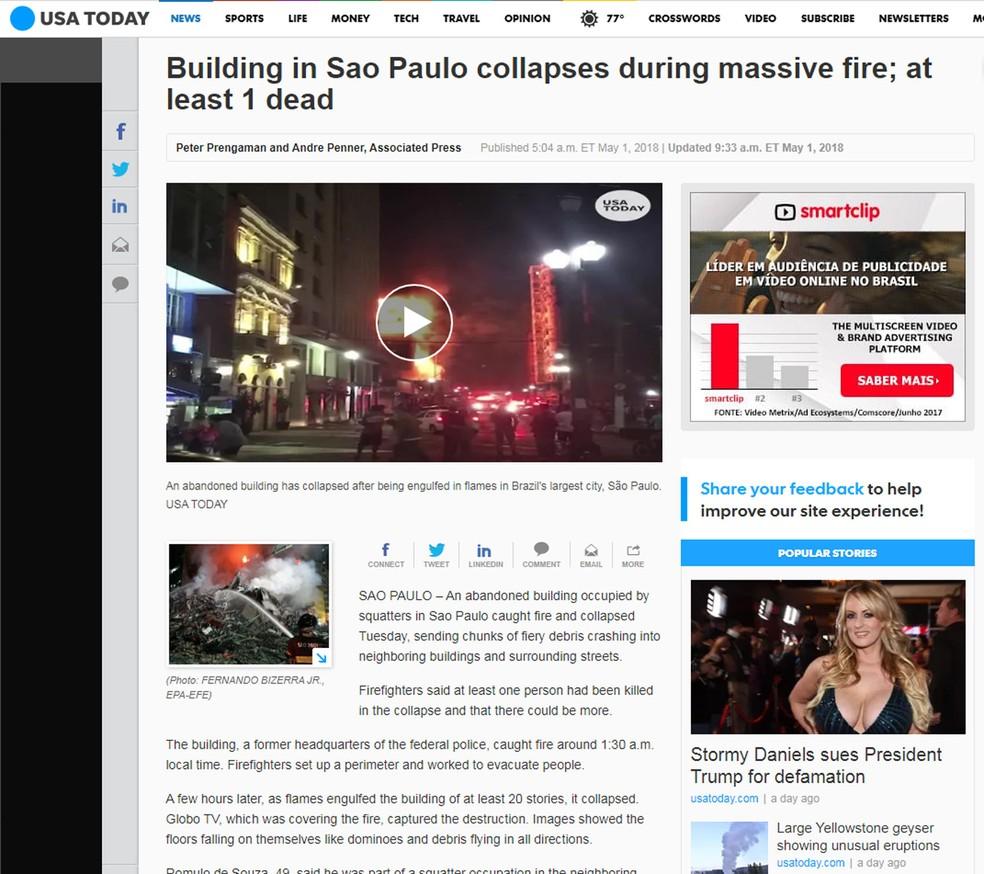 USA Today noticiou desmoronamento de prédio em São Paulo devido a incêndio (Foto: USA Today/Reprodução)