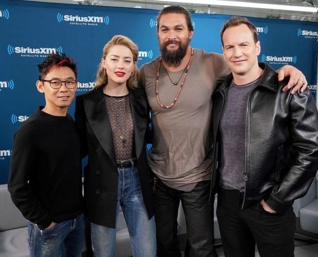 James Wan, Amber Heard, Jason Momoa e Patrick Wilson (Foto: Getty Images)