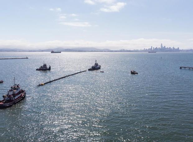 Projeto The Ocean Cleanup em fase de testes (Foto: The Ocean Cleanup/Divulgação)