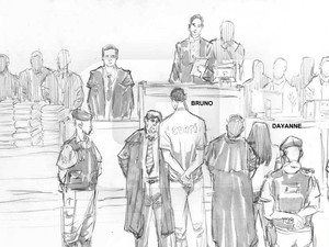 08/03/2013 - Bruno e Dayanne ouvem a sentença lida pela juíza Marixa Fabiane Lopes Rodrigues. (Foto: Léo Aragão / G1)