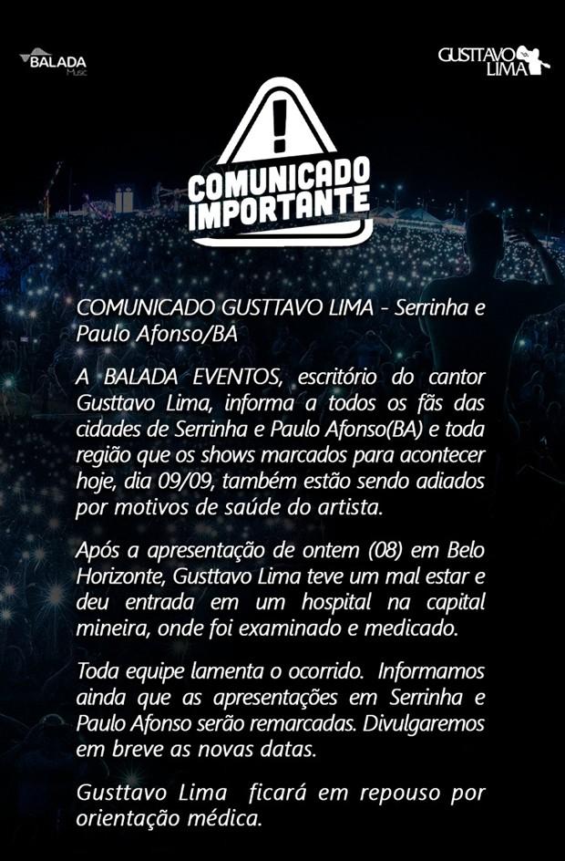 Comunicado de Gusttavo Lima (Foto: Divulgação)