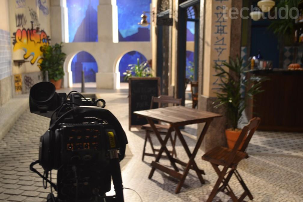 Bairro da Lapa foi reproduzido em versão reduzida nos estúdios do YouTube Space Rio (Foto: Melissa Cruz Cossetti / TechTudo)