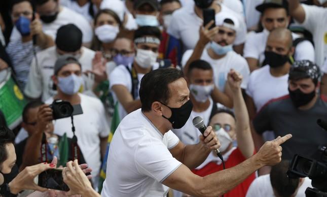 Governador de São Paulo, João Doria, discursa em ato contra o presidente Jair Bolsonaro