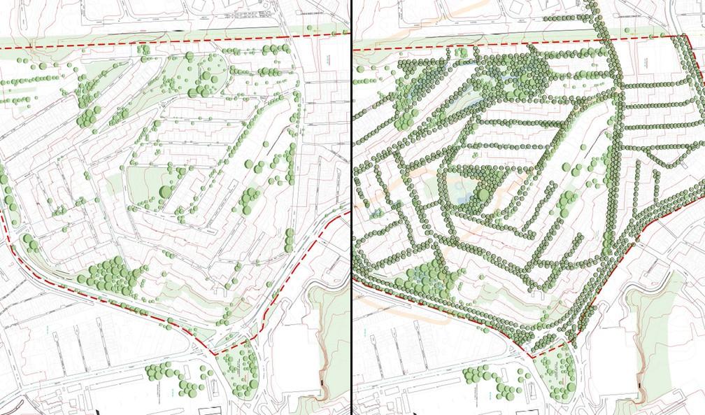 O antes e depois da implementação do projeto de arborização do bairro Cidade São Francisco — Foto: Labverde/USP