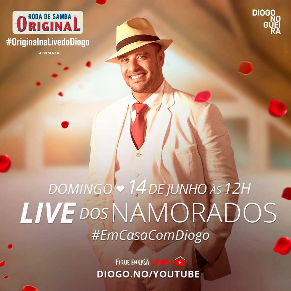Diogo Nogueira faz apresentação especial de Dia dos Namorados — Foto: Reprodução / Instagram