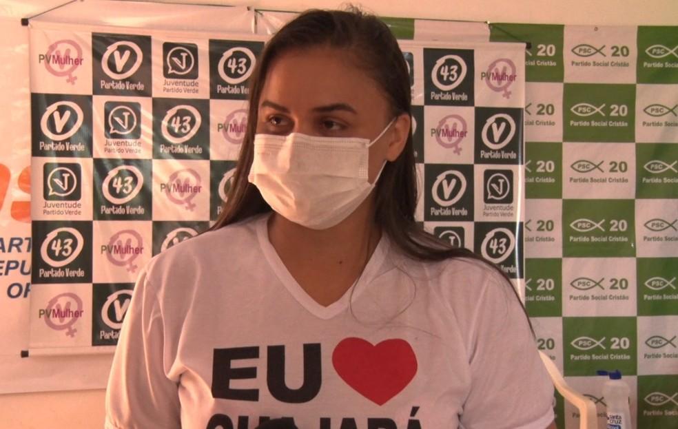 Dra Taíssa Souza, candidata do PV em Guajará-Mirim — Foto: Reprodução/Rede Amazônica