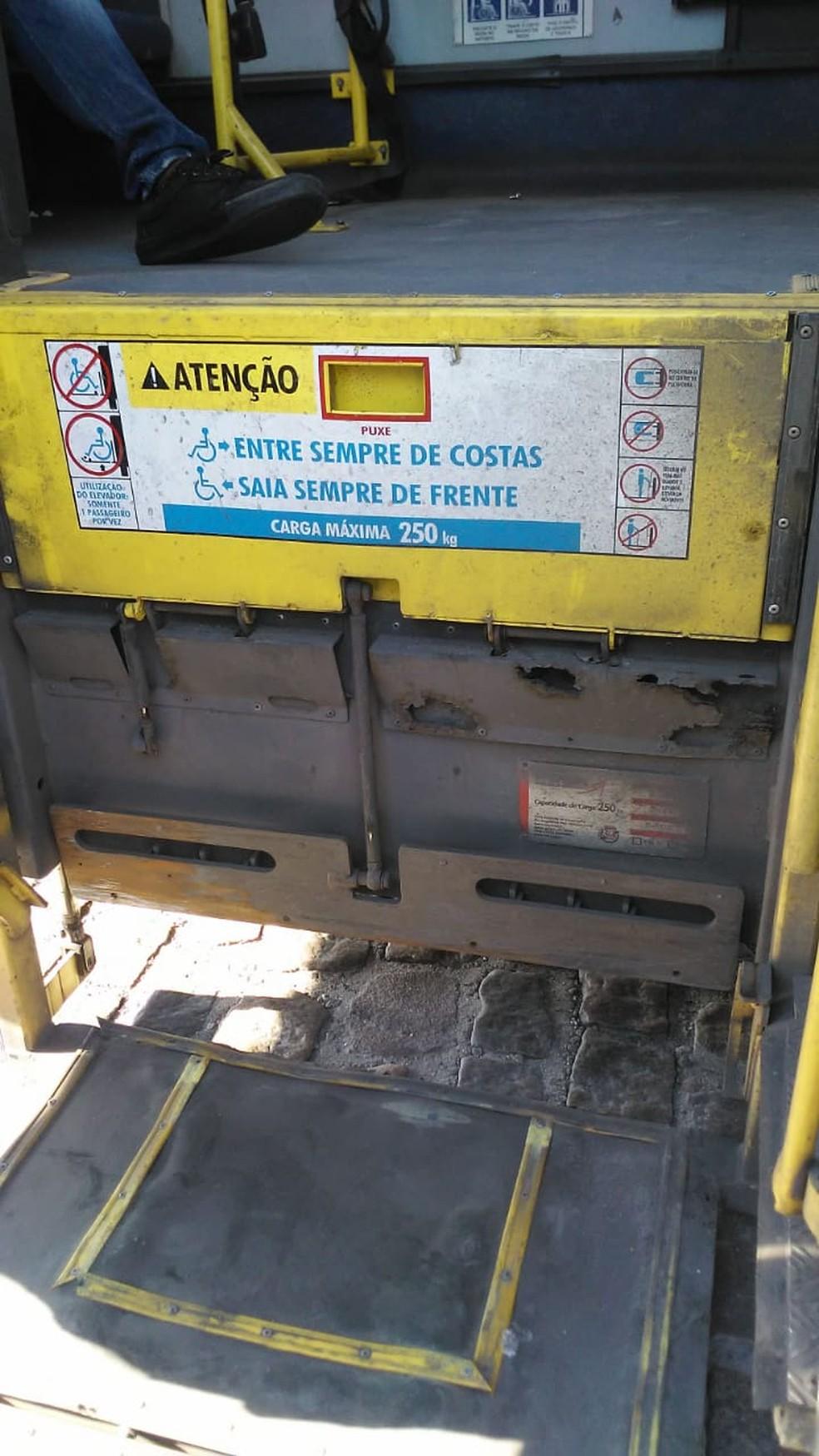 Plataforma se soltou quando André Luiz descia — Foto: Arquivo pessoal