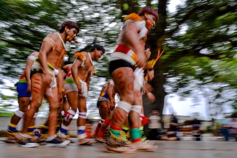 Foto tirada durante o Encontro dos Povos Indígenas de Mato Grosso, em 2016 (Foto: Lucas Ninno/GCOM-MT)