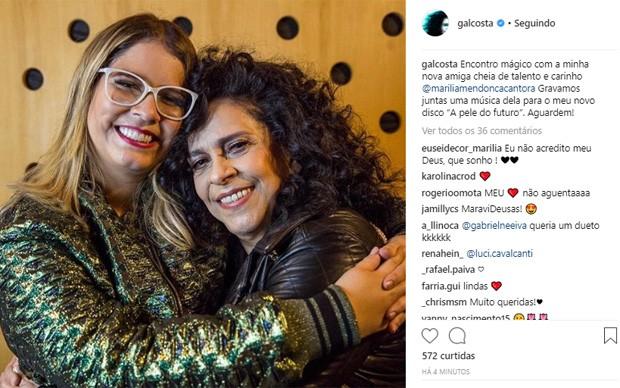 Marília Mendonça e Gal Costa (Foto: Reprodução/Instagram)