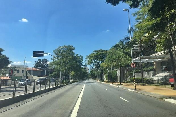 Ruas de São Paulo vazias por conta da Covid-19 (Foto: André Schaun/Autoesporte)