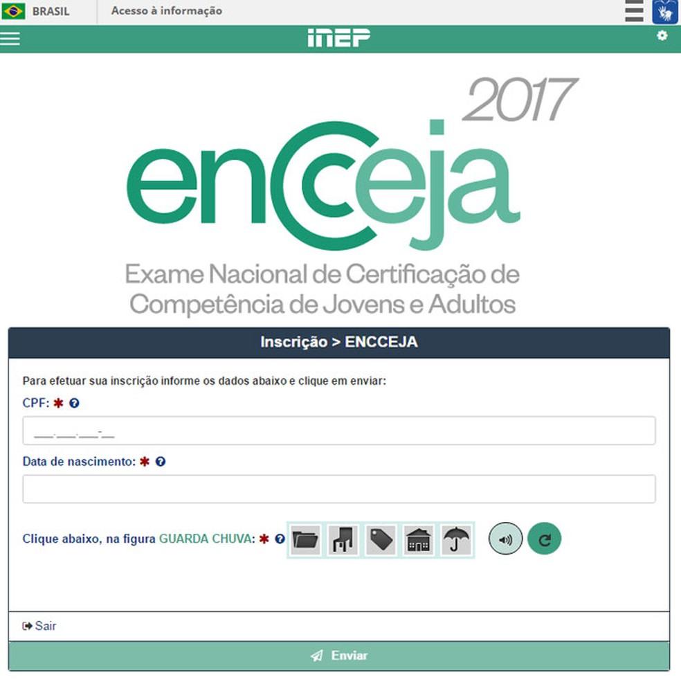 Inscrição para o Encceja é realizada no site do Inep (Foto: Reprodução)