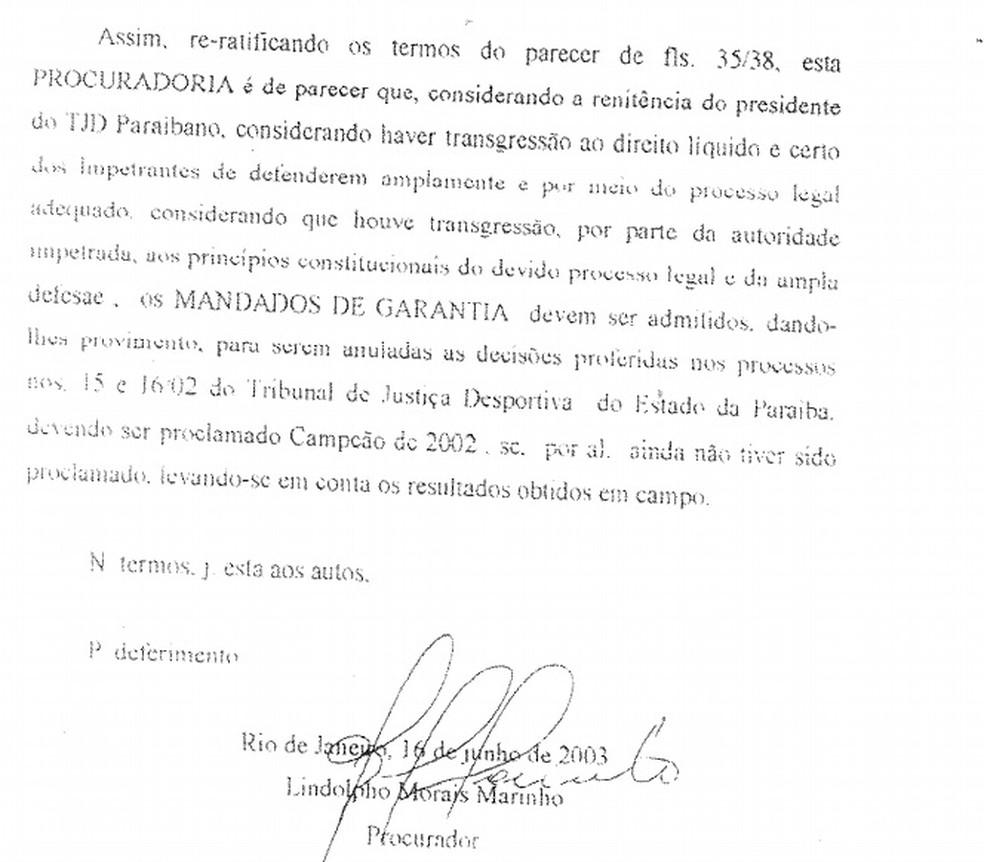 Documentos da época comprovam decisão do STJD pedindo para proclamar o Botafogo-PB campeão paraibano de 2002 — Foto: Reprodução