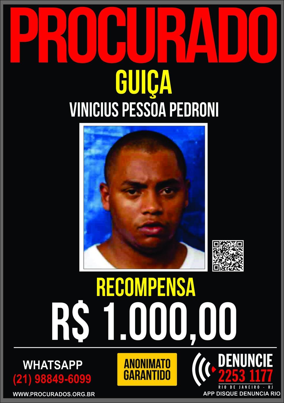 Vinicius Pessoa Pedroni, o Guiça, estava preso desde 2014 — Foto: Divulgação