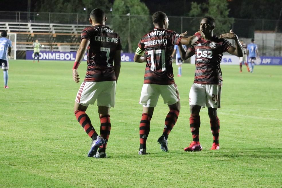Yuri César comemora mais um gol do Flamengo na Libertadores Sub-20 — Foto: Conmebol/Twitter