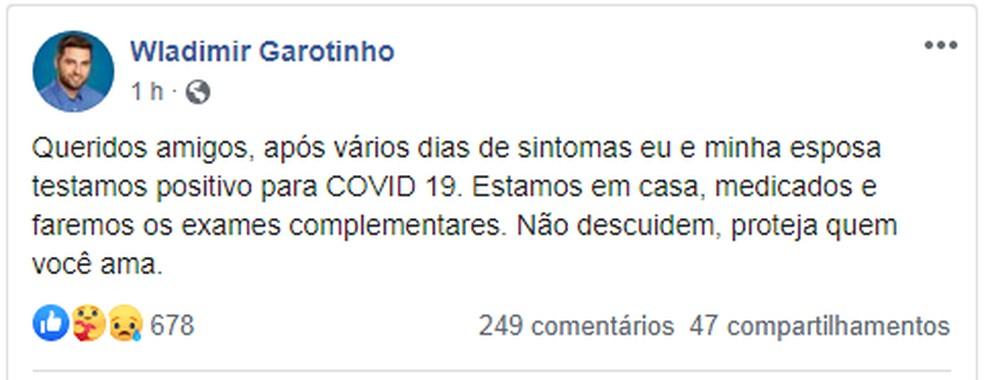Deputado Federal Wladimir Garotinho (PSD) anunciou que está com Covid-19 pelas redes sociais — Foto: Reprodução Facebook