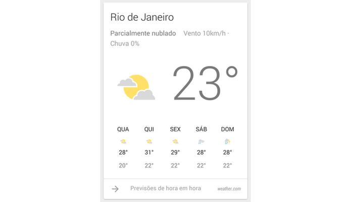 Card de previsão do tempo do Google Now (Foto: Reprodução/ Raquel Freire) (Foto: Card de previsão do tempo do Google Now (Foto: Reprodução/ Raquel Freire))