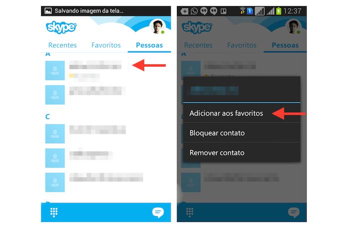 Adicionando um contato aos favoritos do Skype no Android (Foto: Reprodução/Marvin Costa)