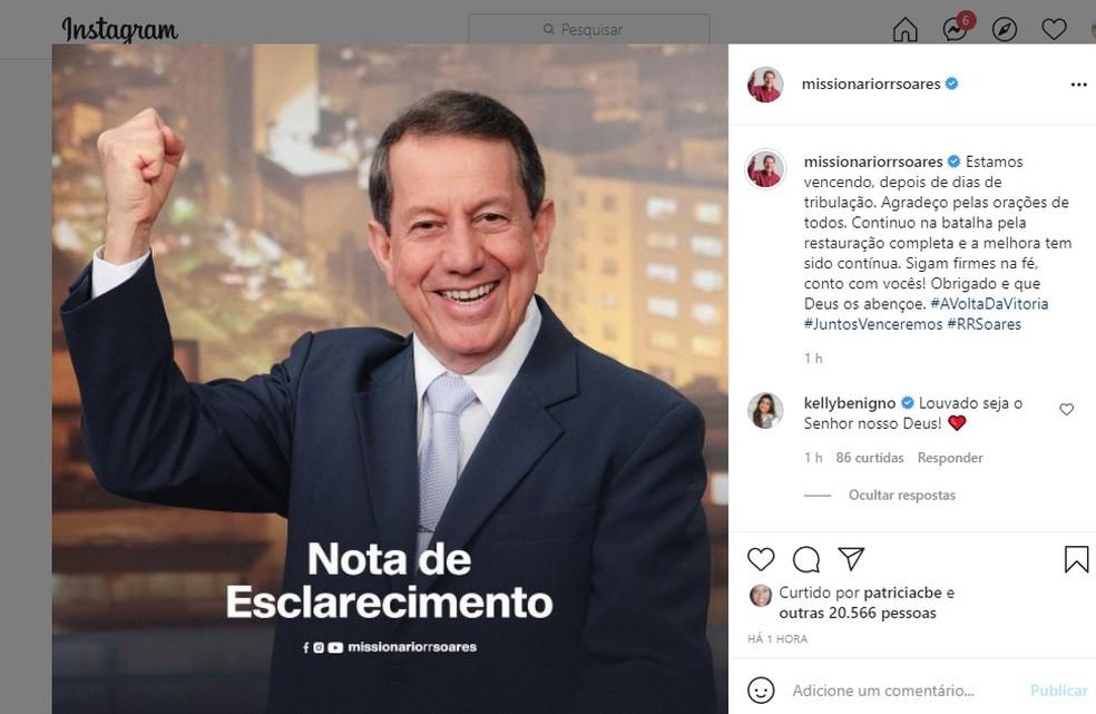 Em comunicado no perfil oficial do missionário nas redes sociais, assessoria informou que 'a melhora tem sido contínua', mas não esclareceu o que aconteceu com ele. — Foto: Reprodução/Instagram