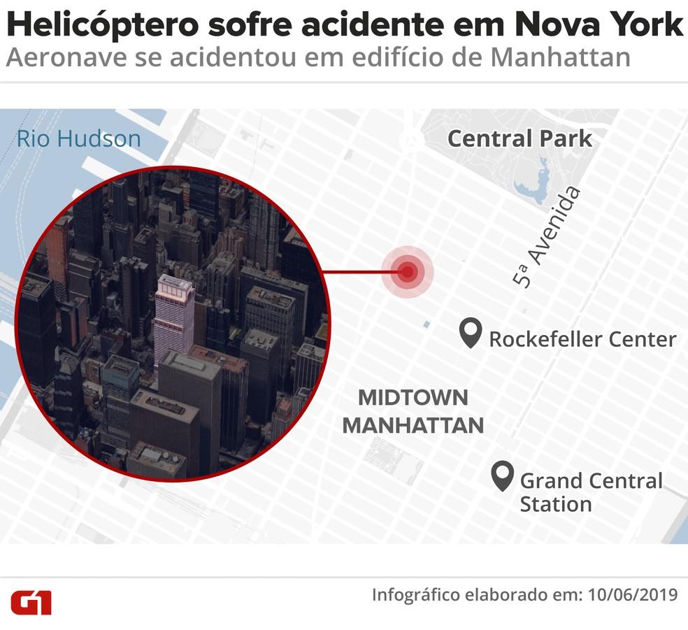 Acidente com helicóptero em Nova York — Foto: Diana Yukari/G1