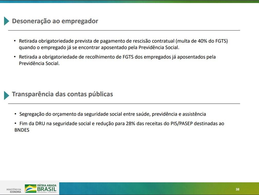 Regras apresentadas em proposta do governo para reforma da Previdência — Foto: Reprodução/Ministério da Economia