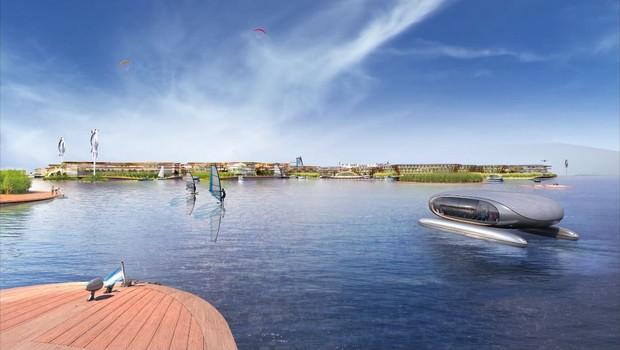 Vista mais aproximada da cidade flutuante apresentada pela ONU (Foto: Reprodução/Oceanix)