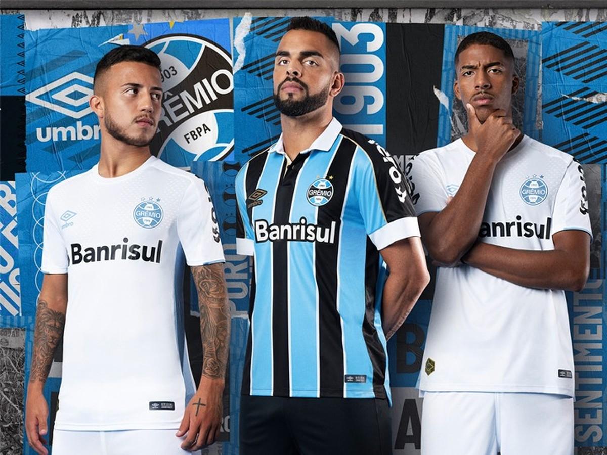 a0fc548d9 Grêmio lança uniformes para 2019 com novidade na camisa branca  veja fotos