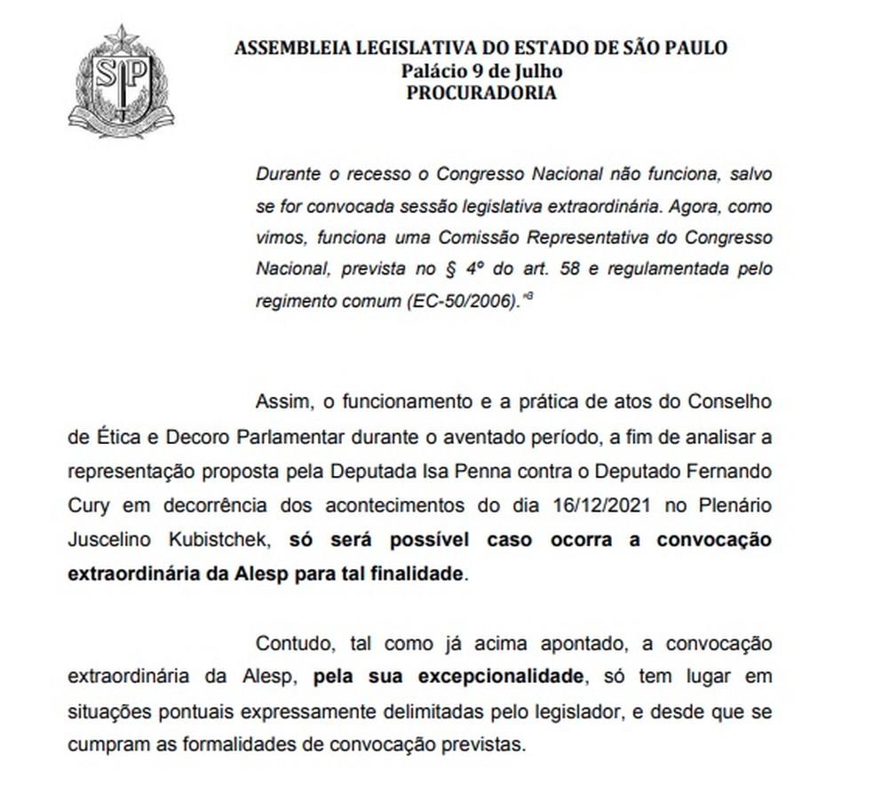 Parecer da Procuradoria da Alesp sobre o caso envolvendo o deputado Fernando Cury (Solidariedade). — Foto: Reprodução