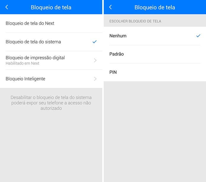 Next permite que o usuário use a senha do Android ou do próprio app no bloqueio (Foto: Reprodução/Elson de Souza)