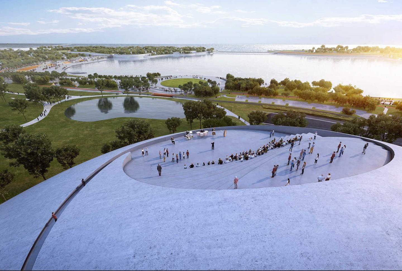 Parque cultural na China é projetado com estilo futurístico e complexos arredondados (Foto: Proloog)
