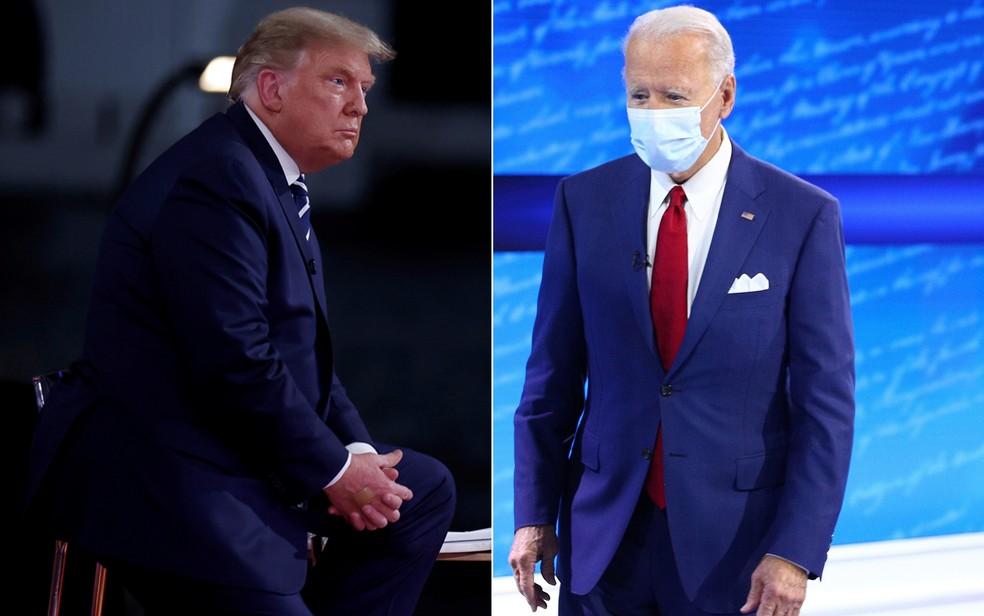 Os candidatos republicano e democrata à presidência dos EUA, Donald Trump e Joe Biden — Foto: Carlos Barria/Tom Brenner/Reuters