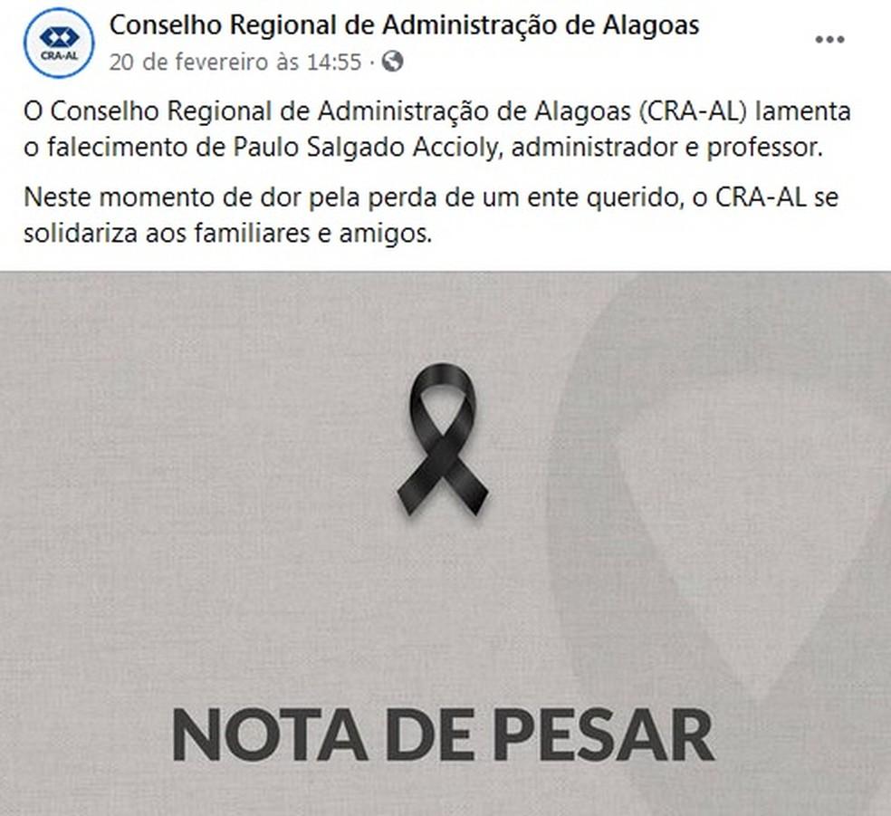 Conselho Regional de Administração de Alagoas divulga nota de pesar sobre morte do professor Paulo Accioly, que morreu de Covid-19 — Foto: Reprodução/Facebook