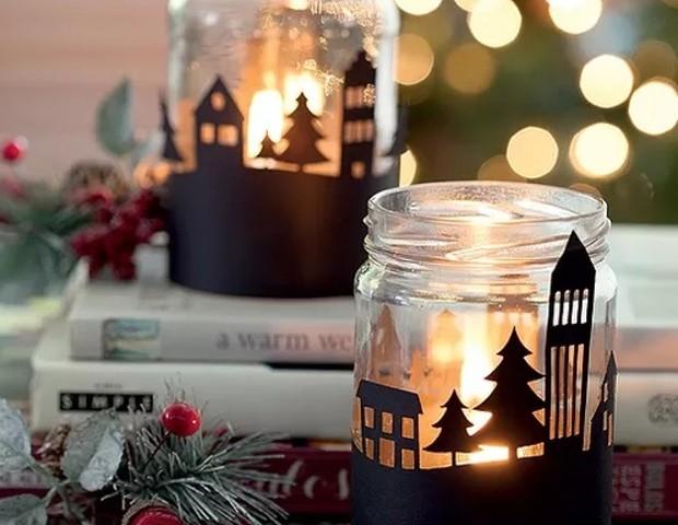 Vidro decorado com vela para dar de presente de Natal (Foto: Pinterest)
