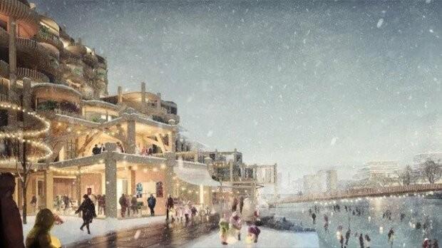 Projeção do bairro durante o rigoroso inverno canadense (Foto: Heatherwick Studio/Sidewalk Labs)