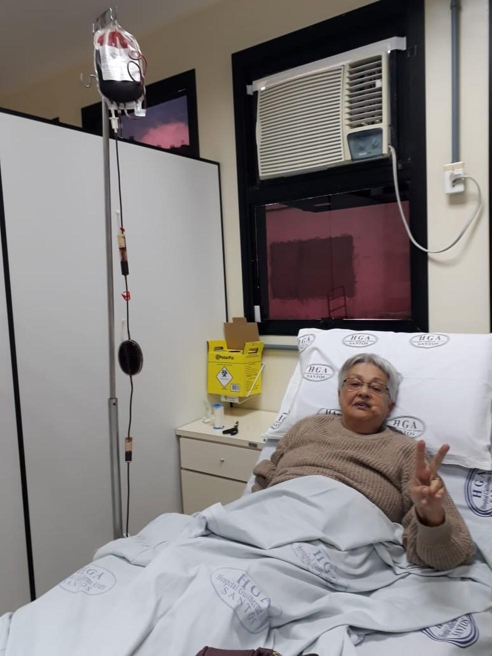 Edelea, de 70 anos, necessita de transfusão ao menos uma vez por mês — Foto: Arquivo Pessoal